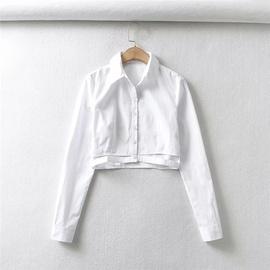 Hollow Design Solid Color Shirt  NSLD27775
