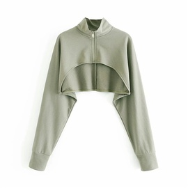 Spring And Autumn New Style Fashion Simple Short Pure Color Sweatshirt NSLD27799