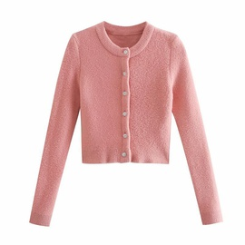 Artificial Gem Button Decoration Knitted Cardigan NSAM27838
