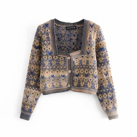 Long-sleeves Jacquard Knitted Cardigan  NSAM27842