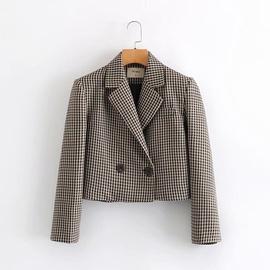 Houndstooth Fashion Wild Slim Suit Jacket   NSAM27846