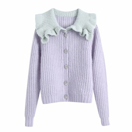 Stitching Neckline Single Breasted Knitted Cardigan NSAM27853