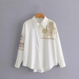 Printing Long-sleeved Shirt Top  NSAM27856