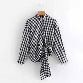 Oblique Placket Asymmetrical Strap Plaid Shirt  NSAM27859