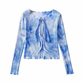 Tie-dye Casual Simple Stretch Knit Cardigan  NSLD27868