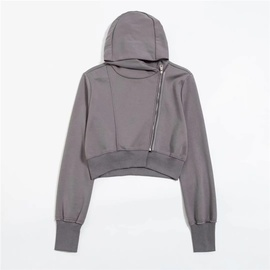 Short Diagonal Zipper Design Hooded Sweatshirt NSLD27875