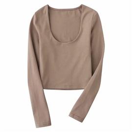 U-neck Long-sleeved Solid Color Bottoming Shirt NSLD27881