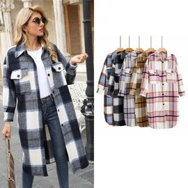 Retro Color Contrast Plaid Long Woolen Coat  NSLD27901