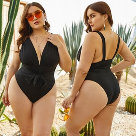 Plus Size Black One-piece Swimsuit  NSLM27913