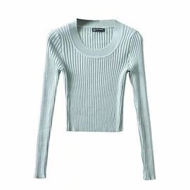 Round Neck Pit Strip Solid Color Knitted Bottoming Shirt  NSAC27929