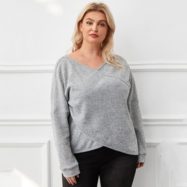 Solid Color Cotton Cross Knit V-neck T-shirt NSDF28108