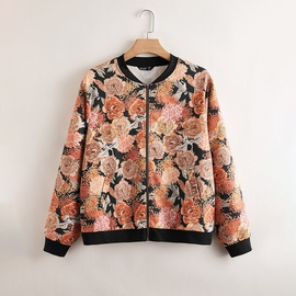 Print Round Neck Casual Large Size Jacket  NSDF28110