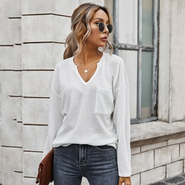 Simple Solid Color V-neck Blouse  NSDY28134