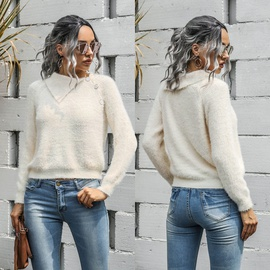 Casual Oblique Shoulder Button Pullover Sweater  NSMY28167