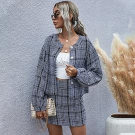 Tweed Pearl Buckle Short Jacket  NSDF28173