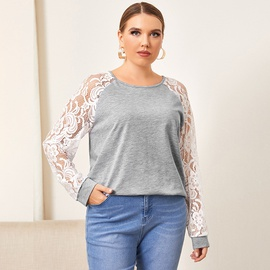Solid Color Lace Long Sleeve Plus Size Tops NSDF28177