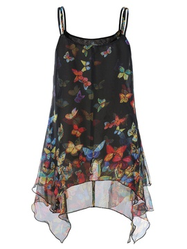 Chiffon Sling Irregular Hem Butterfly Print Small Camisole NSYF28239