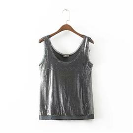 Fashion Sequin Stitching Camisole Shirt  NSLD28256