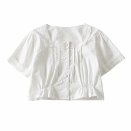 Square Neck Lace Crop Top NSLD28307