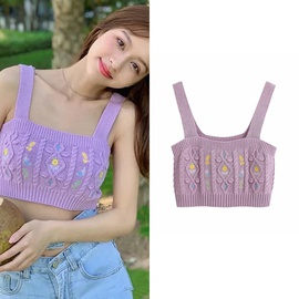 Small Fresh Flower Embroidery Sexy Camisole NSLD28320