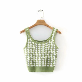 Casual And Simple Houndstooth Knitted Small Vest  NSLD28343
