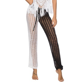 Color Matching Hollow Wide-leg Pants  NSOY28420