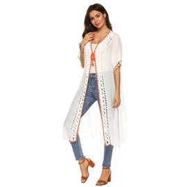 Stitching Color Fringe Mid-length Straps Beach Sunscreen Short-sleeved Cardigan Dress NSOY28424