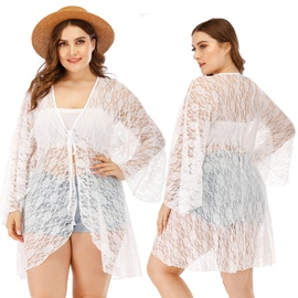 Sexy Lace-up Trumpet Sleeve Large Size Beach Blouse  NSOY28438