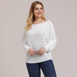 Plus Size Bat Sleeve Loose Pullover Sweater  NSOY28449