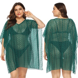 V-neck Sexy Lace Hollow Plus Size Beach Blouse NSOY28475