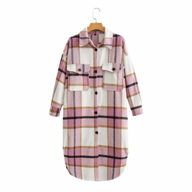 Fashion Plaid Long Woolen Coat  NSAM28634