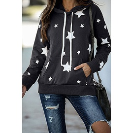 Five-pointed Star Print Long-sleeved Hooded Loose Casual Sweater NSZH28683