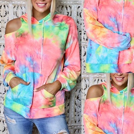 Tie-dye Printing Off-shoulder Long-sleeved Pocket Hooded Sweater NSZH28687