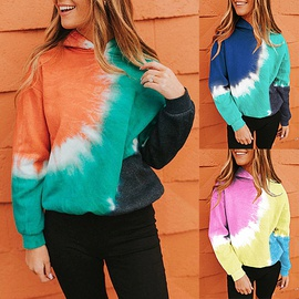 Tie-dye Printing Contrast Color Loose Casual Sports Long-sleeved Hooded Sweater   NSZH28736