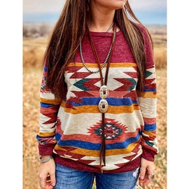 New Loose Round Neck Pullover Printed Sweatshirt NSZH28762