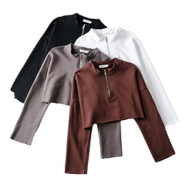 Leisure All-match Solid Color Lapel Spring And Autumn New Loose Thin Short Shirt NSLD28878