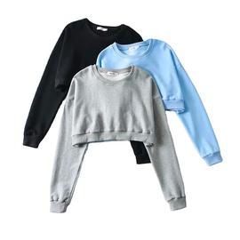 Pure Color Loose Spring Round Neck Shoulder Sleeve Sports Shirt NSLD28882