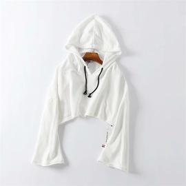 Fashion Short Cropped Hooded Loose Thin Spring And Autumn Sweatshirt NSLD28905