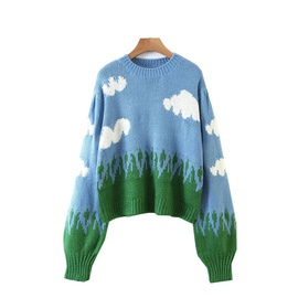 Blue Sky And White Cloud Pattern Sweater  NSLD28914