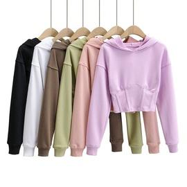Casual Simple Solid Color Waist Hooded Sweatshirt NSLD28918