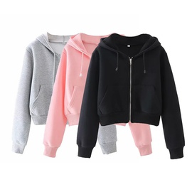 Casual Simple Solid Color Wild Cardigan Hooded Sweatshirt NSLD28928