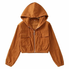 Casual Simple Corduroy Hooded Coat NSLD28956