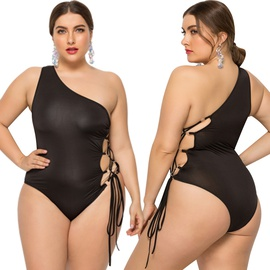 Oblique Shoulder Plus Size One-piece Swimsuit  NSLM28963