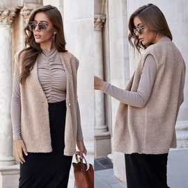 Autumn And Winter All-match Simple Loose Sleeveless Lamb Fashion One-button Cardigan Vest NSLM28968