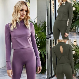 Autumn Turtleneck Long-sleeved Fitness Yoga Stretch T-shirt  NSLM28979