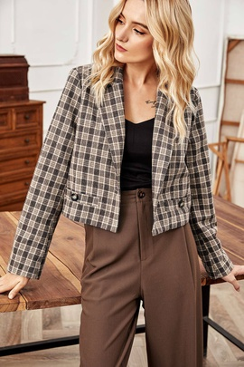 Fashion Lapel Long-sleeved Plaid Short Blazer NSLM28982