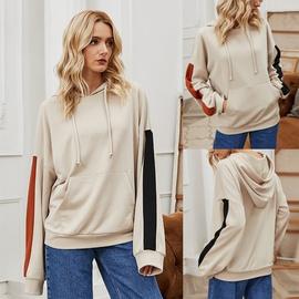 Hedging All-match Hooded Fashion Color Matching Mid-length Loose Slim Thin Sweatshirt NSLM28986