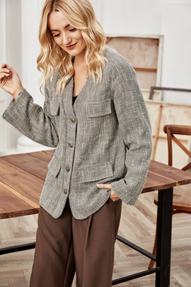 Contrast Color Woven Single-breasted Blazer NSLM28989