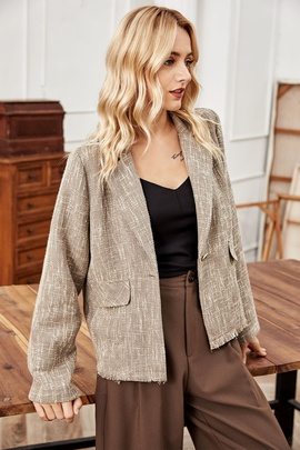 Lapel Linen Long-sleeved Short Blazer NSLM28996