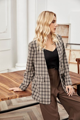 Temperament Plaid Long Suit Jacket  NSLM28997